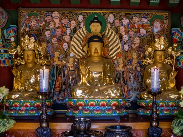 Three Buddhas in another temple building, Beomeosa Temple, Mt. Geumjeongsan, Busan, South Korea