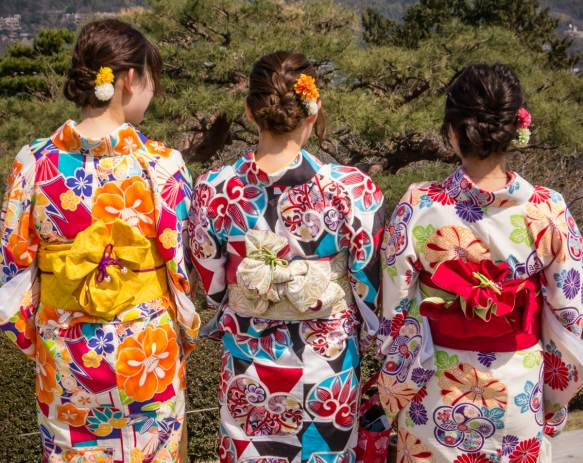 Three young Japanese girls in their rented kimonos were touring Kenroku-en garden, Kanazawa, Honshu Island, Japan