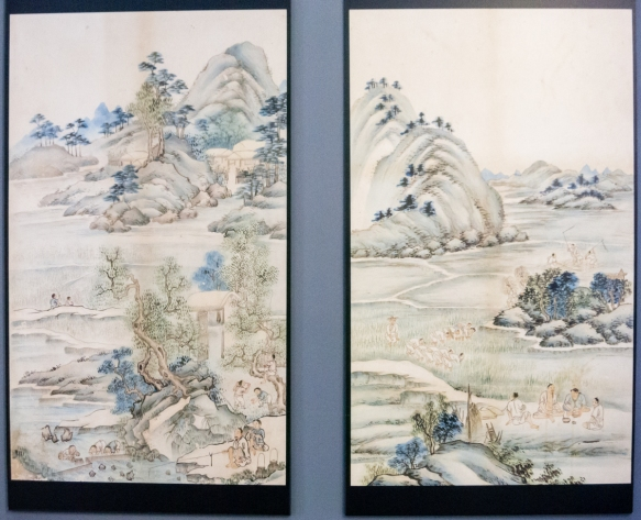 Two of five panels of a very famous Korean panel painting at the Busan Museum, Busan, South Korea; the style was influenced by Chinese paintings