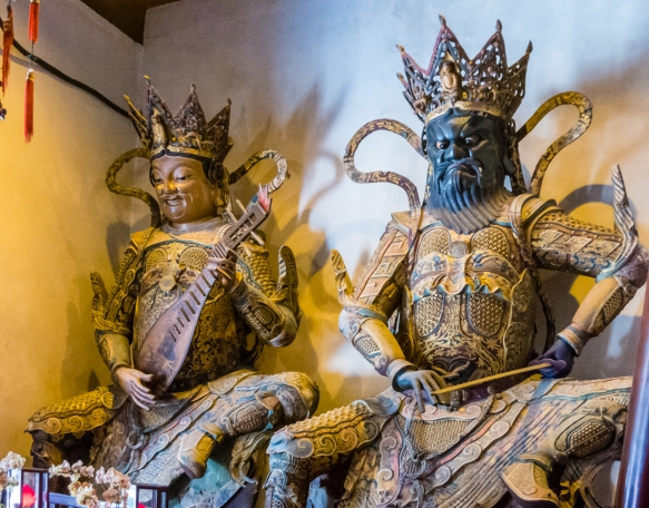 Two of the Deva Kings in the Chamber of Four Heavenly Kings at the Jade Buddha Temple, Shanghai, China