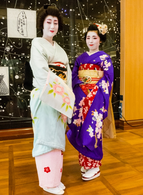 We were privileged to welcome several Geishas aboard our ship, docked in Kobe, Japan, for singing, music and dancing before dinner where we had an opportunity to talk with them (with the
