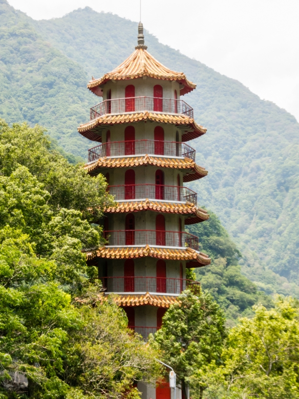 A beautiful pagoda set in the forest next to the Buddhist Temple in Taroko National Park, Hualien, Taiwan