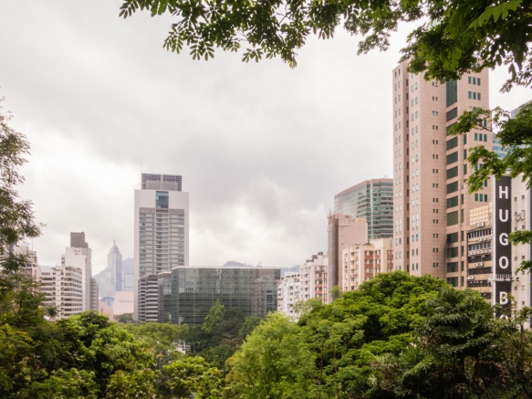 A filtered view of the high rise apartment buildings surrounding Kowloon Park where, as we took a morning kike, we forgot that we were in a giant city (except for the occasional partial