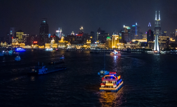 A nighttime view of the Bund at the bend in the Huangpu River in central Shanghai, China