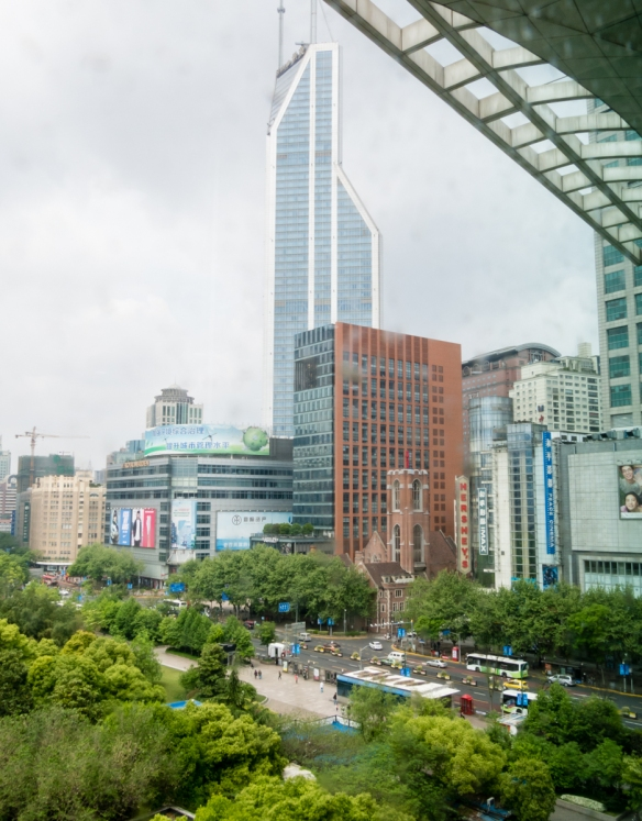 A view of People_s Square from the top floor of the Shanghai Urban Planning Exhibition Hall, Shanghai, China