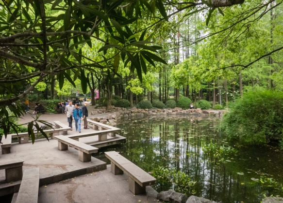 A walking bridge around the pond in People_s Park in the center of the city, Shanghai, China; during colonial days, the park formed the northern half of the Shanghai racetrack