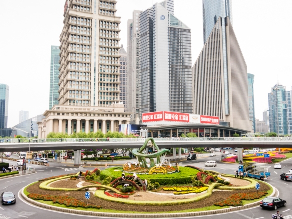 Another view of the traffic circle near the IFC Mall with additional high rises visible, Pudong district, Shanghai, China