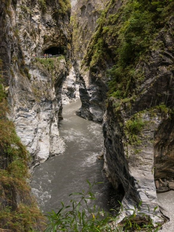 As we went further into Seallow Grotto, the gorge narrowed; the walkway is visible on the left side of the photographs, Taroko National Park, Hualien, Taiwan