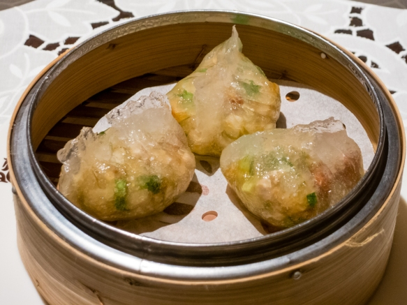 Chicken, green onions and mushroom steamed dumplings, Spring Moon in the Peninsula Hotel, Hong Kong, S.A.R., People_s Republic of China