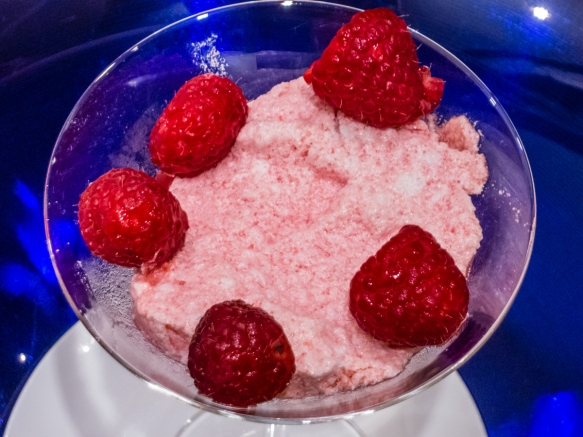 Dessert was a frozen raspberry spuma with fresh raspberries, shipboard dinner, South China Sea, Asia