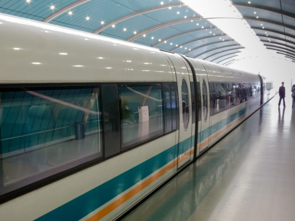 From the platform in Pudong, the Shanghai Maglev Train, China, doesn_t appear that different from a traditional wheel-on-rail train; note that what you can_t see is the lack of wheel