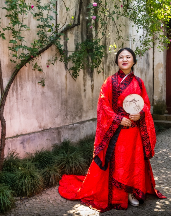 One of many Chinese brides that we saw in The Garden of Cultivation, Suzhou, China, where they posed for professional portraits