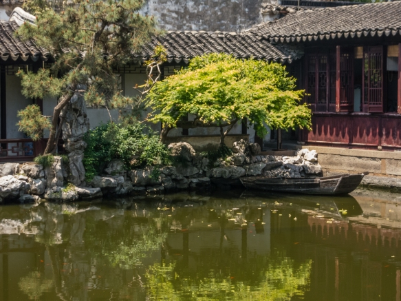 One of the teahouses on the pond in The Garden of Cultivation, Suzhou, China