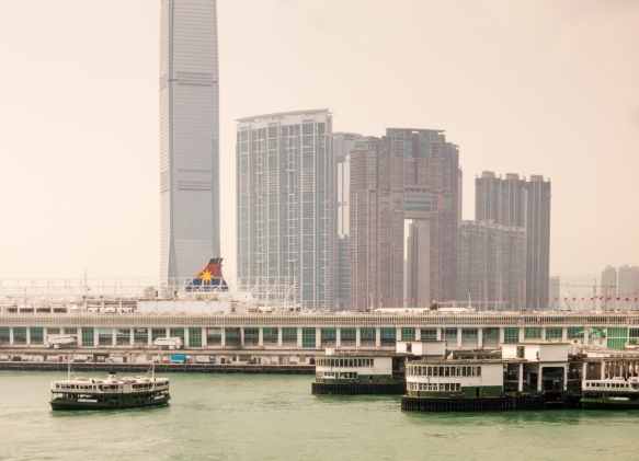 Our pier at Ocean Terminal, just west of the Kowloon side Star Ferry Terminal, was close to the new International Commerce Center (completed in 2011), the tallest building in Hong Kong,