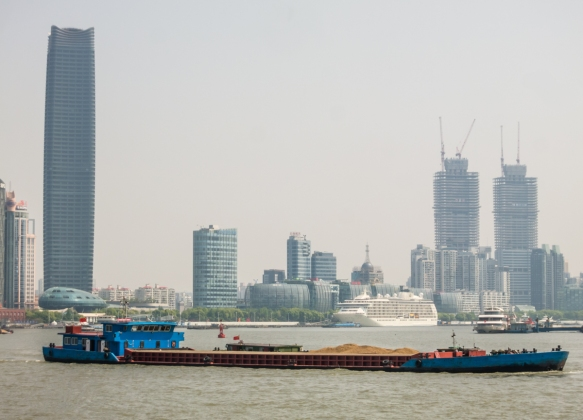 Our ship was docked slightly north of the Shanghai Port International Passenger Terminal because, on our arrival, the two Chinese Navy ships were berthed in the berth directly in front o
