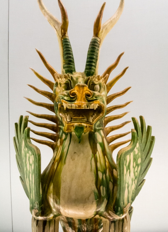 Polychrome Glazed Pottery Statue of Tomb Guardian Beast, Tang Dynasty, A.D. 618~907, the Shanghai Museum, People_s Square, Shanghai, China