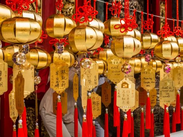 Sinos de oração no Templo Wen-Wu, Lago Sun Moon, Taichung, Taiwan