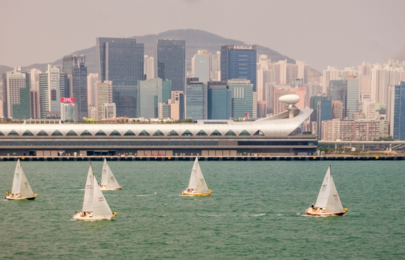 Sailboats were out in Hong Kong Harbor, a nice welcome to Hong Kong, S.A.R., People_s Republic of China