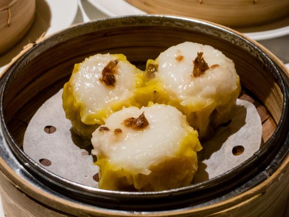Scallop and minced pork siu mai dumplings, Spring Moon in the Peninsula Hotel, Hong Kong, S.A.R., People_s Republic of China