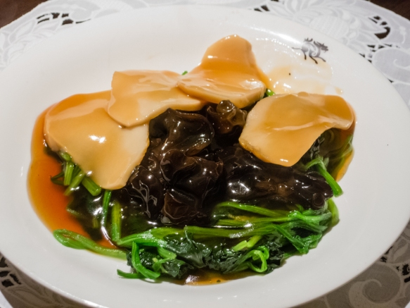 Special vegetables, including cloud ear mushrooms and greens, Spring Moon in the Peninsula Hotel, Hong Kong, S.A.R., People_s Republic of China