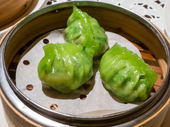 Steamed vegetable dumplings in vegetable dough wrappers, Spring Moon in the Peninsula Hotel, Hong Kong, S.A.R., People_s Republic of China