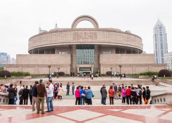 The entrance of the Shanghai Museum, which was designed to resemble a Chinese cooking pot, People_s Square, Shanghai, China