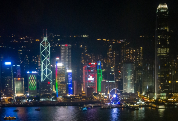 The Hong Kong, S.A.R., People_s Republic of China, skyline at night, viewed from Kowloon