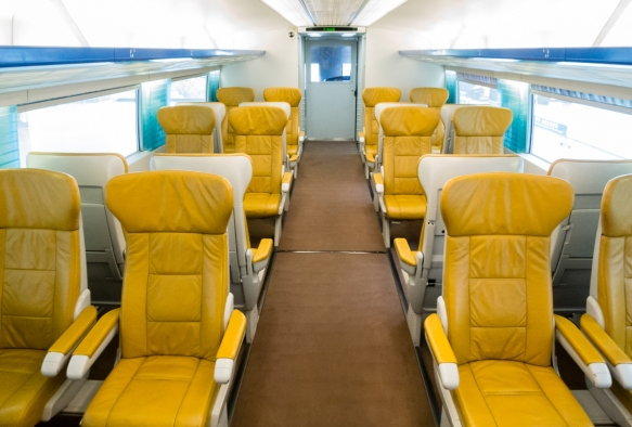 "The VIP seating section (""first class"") had larger seats than the regular seating sections, Shanghai Maglev Train, China; this looks much more like the interior of an aircraft cabin"