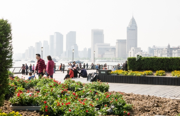 "This view is from the gardens in planter boxes along the Promenade, looking south along the Bund and the Huangpu River beyond the shoreline formally designated as ""the Bund"", Shangha"