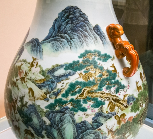 Zun (vase) with Fenacai Design of a Hundred Deers, Jingdezhen Ware, Quinlong Reign (A.D. 1736~1795), Qing Dynasty, the Shanghai Museum, People_s Square, Shanghai, China