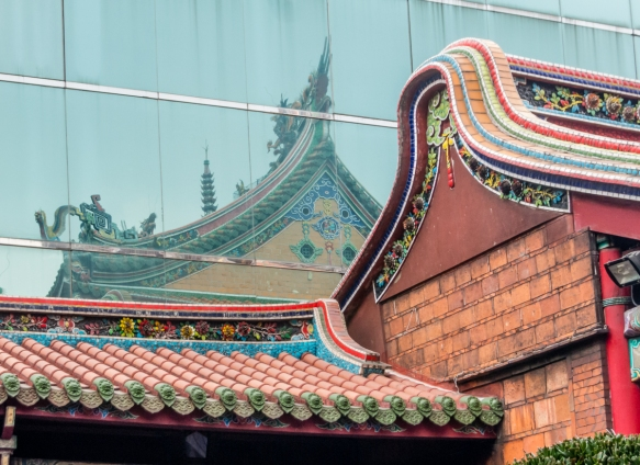 A juxtaposition of roof lines at Lungshan Temple, Taipei, Taiwan