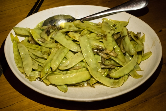 All star farm yellow snow peas, maitake mushroom, The Slanted Door, San Francisco, CA, USA