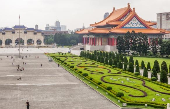 Chiang Kai-shek Memorial Park viewed from the statue of Chiang Kai-Shek in the Chiang Kai-Shek Memorial Hall, Taipei, Taiwan