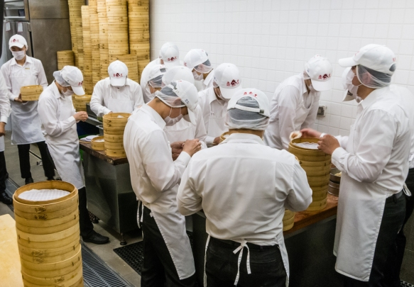 "Here is the small ""army"" of cooks making the sublime ""Shanghai"" soup dumplings (Xiao Long Bao) at Din Tai Fung, Taipei, Taiwan"