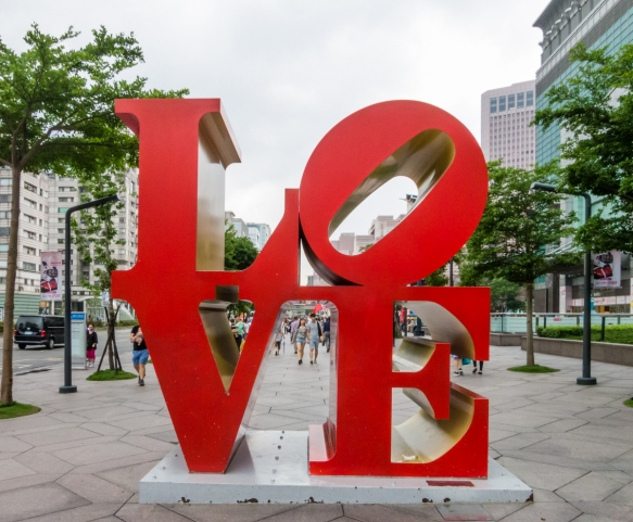 "In front of Taipei 101 is one of the famous ""LOVE"" statues, Taipei, Taiwan"