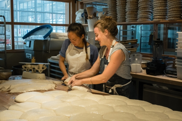 Preparing dough for baking for the delicious bread at Tartine Manufactory, San Francisco, CA, USA