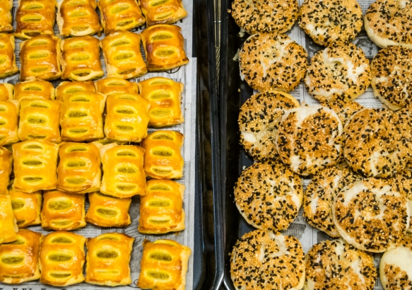 The bakery next door had excellent home made pastries – mini curry pastries on the left, and delicious shredded radish pastries that we tried, on the right; Taipei, Taiwan
