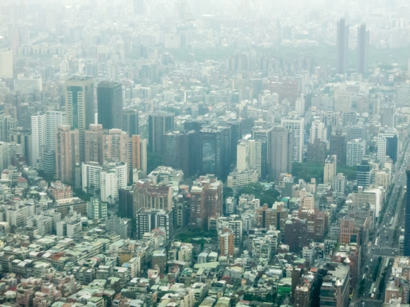 The density of the city is very high, with a total population of 2.7 million people in a small geographic area; Taipei 101, Taipei, Taiwan