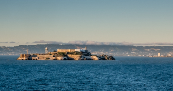 The former Alcatraz Federal prison occupied all of Alcatraz Island in the middle of the San Francisco Bay (visitors can now take a boat from S.F. to tour the prison-island), San Francisc