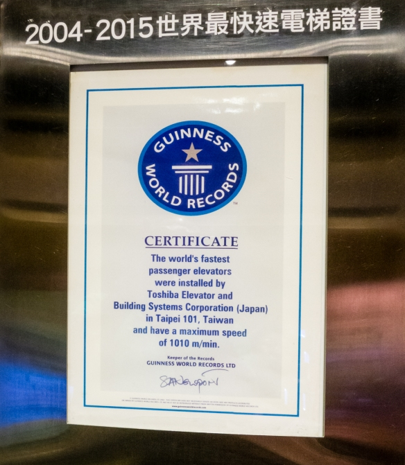 The Guinness Book of World Records records that Taipei 101 has the fastest passenger elevators in the world, Taipei, Taiwan