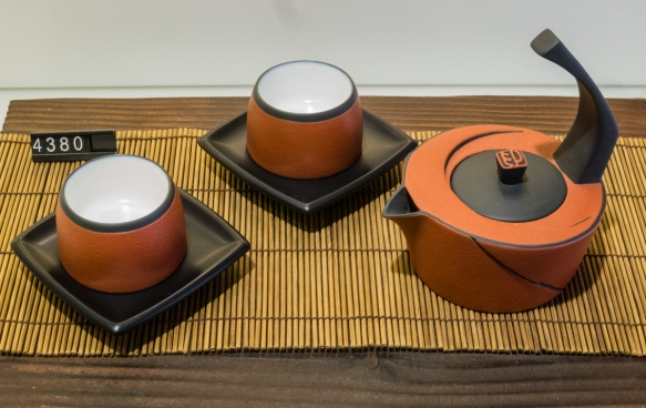 """This kitchen and housewares shop had beautiful, locally made tea sets; this set of metal tea cups were double walled, providing an insulating (""""Thermos""""-like) cup, Taipei, Taiwan"""
