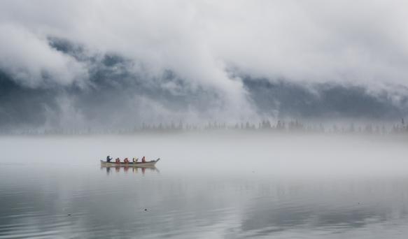 A canoe on Lake Mendenhall, Juneau, Alaska, USA