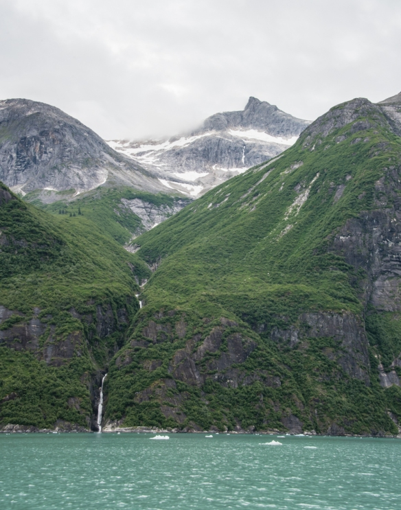 A close up of a waterfall in Tracy Arm Fjord, Juneau, Alaska