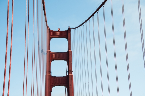 A curtain wall of suspension cables, Golden Gate Bridge, San Francisco, CA, USA