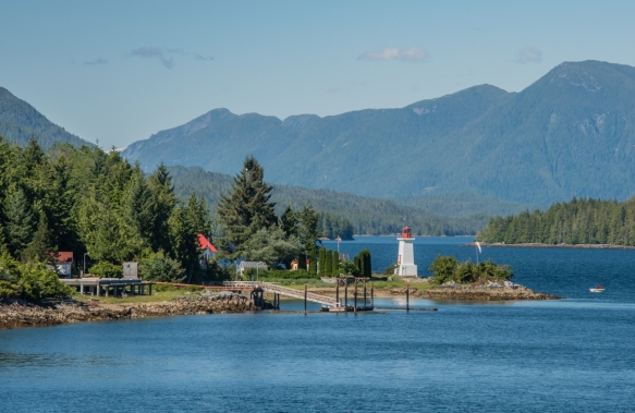 A lighthouse and camp, Fjordlands, British Columbia, Canada