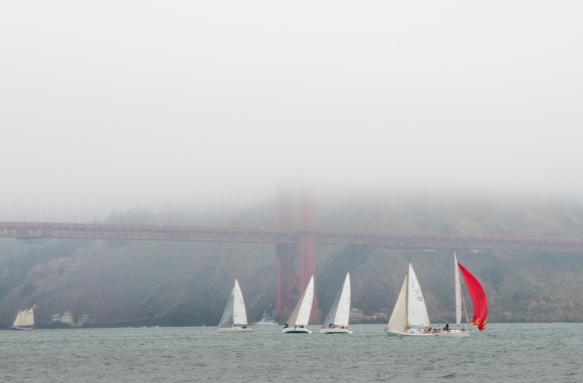 A typical day of sailing in the summer fog on San Francisco Bay in front of the Golden Gate Bridge, San Francisco, CA, USA