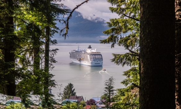 As we descended through the forest, we found that the fog had lifted and we were rewarded with a beautiful view of our ship in the harbor, Wrangell, Alaska, USA