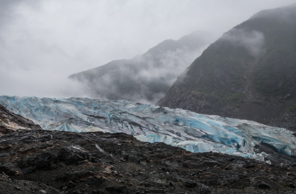 As we hiked up from the beach of Mendenhall Lake, Mendenhall Glacier came into view; Juneau, Alaska, USA