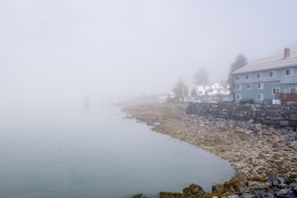 At the tender pier in Wrangell, Alaska, the Stikine Inn and Restaurant emerged from the fog enveloping the harbor; we had dinner in their casual restaurant with good American-style food