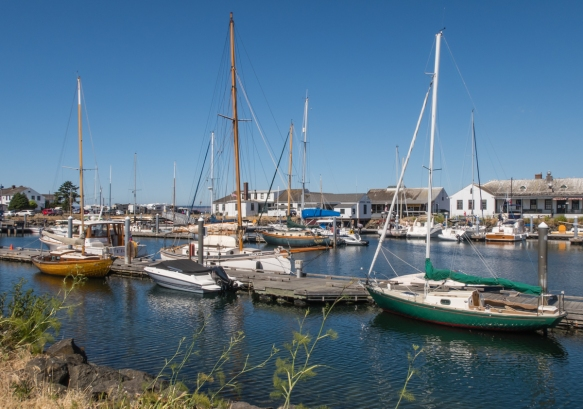 Boats anchored in the downtown marina (Port Hudson Marina), Port Townsend, Washington, USA